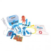 MagiDeal Kids Toddlers' Learning Resources Pretend Play Doctor Nurse Role 24 Pieces Tools Educational Set Blue Games