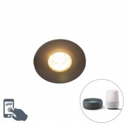 QAZQA Smart recessed spot black incl. WiFi GU10 IP54 - Xena Round