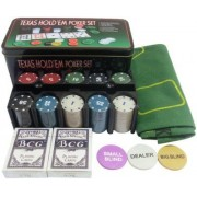 Spy MARKED Texas Hold'Em Poker Set (Tin Case) – 200 Chips Currency denominations of 10,20,50,100,500 Duplex Centered Board