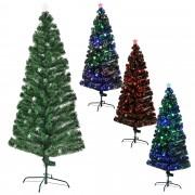 [en.casa]® Цветна коледна елха със стъклени влакна и със стойка - 210 см.