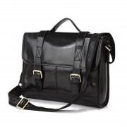 Delton Bags Zwarte Principal Lederen Tas