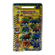 ISRE Trucks for kids Engineering Vehicle Speedy Cars, Loader, Dump Truck, Shovel Car, Multi Color, Pack of 8