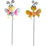 Wonderland (SET of 2) Plastic animated Butterfly Stake in pink yellow(10 x 5 x 66 cm)