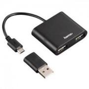 Hama USB 2.0 OTG Хъб 1:2 за смартфони, таблети, лаптопи, PC, черен - HAMA-54140