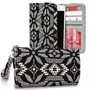 Kroo Posh Kick X511, Icon S510, Titan Max Hd E550, Ultra 5.0 Lte, Titan Hd, Revel Pro X510, Orion Pro X500 Case | Tan/Black Tribal Smartphone Wallet With Strap For Woman