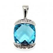 Luxusní přívěsek s diamanty, blue topaz, kolekce Glare, bílé zlato