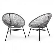 Blumfeldt Las Brisas Chairs 2 delat-set retro-design 4mm-väv grå