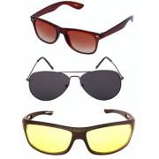Magjons Wayfarer Sunglasses Combo Yellow Driving Goggale Set of 3 With box MJK05