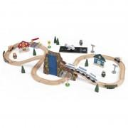 Trenulet din lemn Euro Express cu set de accesorii Kidkraft