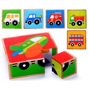 Cubbie Lee Toy Company Vehicle Block Chunky Wooden Puzzle for Toddlers, Preschool Age w/ Colorful Solid Wood Cube Pieces - Fire Truck, Bus & Cars - 6 Puzzles in 1. Simple & Educational Learning for 2, 3 & 4 Year Olds