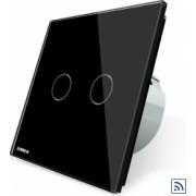 Intrerupator dublu wireless cu touch Livolo din sticla Negru