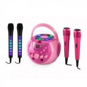 SingSing rosa + Dazzl Mic Set per Karoke Microfono Luci LED