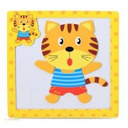 Funny Animal Magnet Cat Puzzle - Safari and Wild Animal Magnetic Puzzle Pieces - Cute Silly Animals - Portable Travel Toy for Kids, Toddlers - 10 Pieces on Wooden Magnetic Board