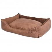 vidaXL Кучешко легло с възглавница, PU изкуствена кожа, р-р М, бежово
