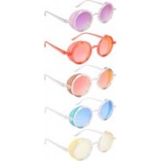 NuVew Round, Shield Sunglasses(Violet, Red, Golden, Blue, Yellow)