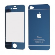 Folie Sticla iPhone 4S iPhone 4 Set 2 Buc Fata si Spate Mirror Albastra Protectie Antisoc Tempered Glass