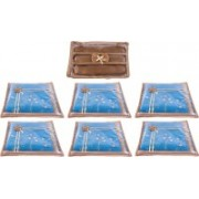 Annapurna Sales Designer Front Transparent Single Saree Cover and Churi/Bangles Case - Set of 7 Pcs. Golden00394(Golden)