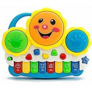 REBUY Drum Keyboard Piano Musical Toys with Flashing Lights - Animal Sounds and Songs for Baby Toddler
