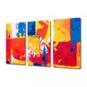 Tablou Canvas Premium Abstract Multicolor Galben Rosu Albastru Decoratiuni Moderne pentru Casa 3 x 70 x 100 cm