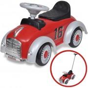 Детска кола за бутане, с дръжка, ретро дизайн, червена
