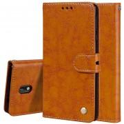 Para Nokia 3 Aceite De Textura De Cera De Negocios Estilo Funda De Cuero Flip Horizontal Con Titular Y Ranuras Para Tarjetas Y Cartera (Brown)