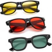 Elligator Wayfarer Sunglasses(Red, Green, Yellow)