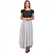 Raabta White with Black Dot Print Long Dress with Cape Sleeve 11010