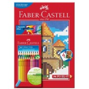 Set 24 creioane colorate Grip si carte colorat Pixel Faber-Castell
