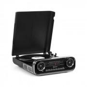 Auna Challenger, LP gramofon, bluetooth, VHF rádio, USB, černý