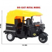 CNG Auto Rickshaw Die-Cast Metal Toy Car with Pull Back Model and Turnable Handle Toy for Kids Great Gift for Boys and