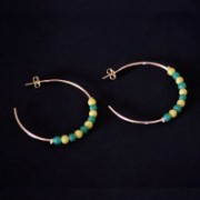 Earring Gold Plated Jewelry Semi Green Yellow Polka Dot