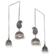 Rubans Silver Color Ethnic Paisley Shaped Jhumkas