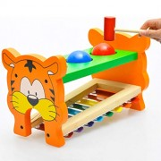 HATCHMATIC 2in1 Kid Wooden Pound and Tap Bench Educational Development Music Toy: Multicolor