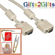 VGA CABLE HD15 MALE TO MALE WITH FERRITES 10 METERS COMBO OFFER BRANDED GIFTS2GIFTS CUTTER