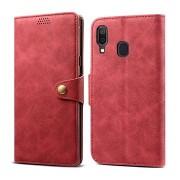 Lenuo Leather tok Samsung Galaxy A40 készülékhez, piros