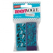 Staples Teen Vogue Latex Free Block Erasers ~ Set of 2 (Spots on Blue Distorted Blue Hearts on Purple)