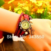 SNR Vintage Round Dial Red Leather Analog Watch For Women