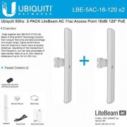 Ubiquiti LBE-5AC-16-120 5GHz 2-PACK LiteBeam AC 11ac Access Point 16dBi 120ø PoE