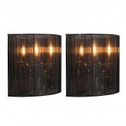 QAZQA Set de 2 appliques Ann-Kathrin 2 chrome abat-jour noir