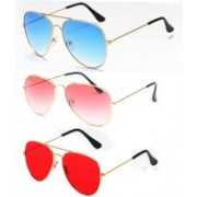 Elligator Aviator Sunglasses(Blue, Pink, Red)