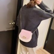 Pearl Lock gesp PU lederen enkele schoudertas dames handtas Messenger Bag (roze)