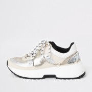 River Island Womens White chunky sole lace-up runner (7)