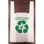 320 + 2 x 80 x 550 x 0,03 mm-es kukoricakeményítőből (PLA) készült, környezetbarát, lebomló ingvállas bevásárló táska