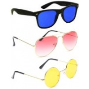 Elligator Aviator, Wayfarer, Round Sunglasses(Blue, Pink, Yellow)