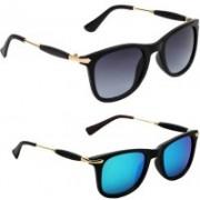 Ultra Digits Wayfarer Sunglasses(Grey, Blue)