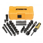 DeWALT 50 Piece Mechanics Tool Set Tooth Ratchet Socket Drive Bits