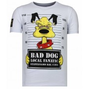 Local Fanatic Bad Dog - Rhinestone T-shirt - Wit