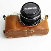 PU Leather Bottom Camera Half Case Bag for Olympus E-PL7 / E-PL8 / E-PL9 - Brown