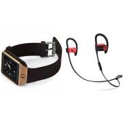 Zemini DZ09 Smart Watch and QC 10 Bluetooth Headphone for LG OPTIMUS L9.(DZ09 Smart Watch With 4G Sim Card Memory Card| QC 10 Bluetooth Headphone)