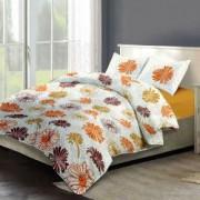 Lenjerie de pat Dormisete bumbac 100 YELLOW FIESTA pentru pat 2 persoane 4 piese 200x220 / 50x70 cearceaf pat uni galben mustar